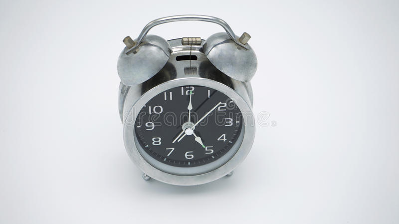 Chrome vintage allarm clock stock image