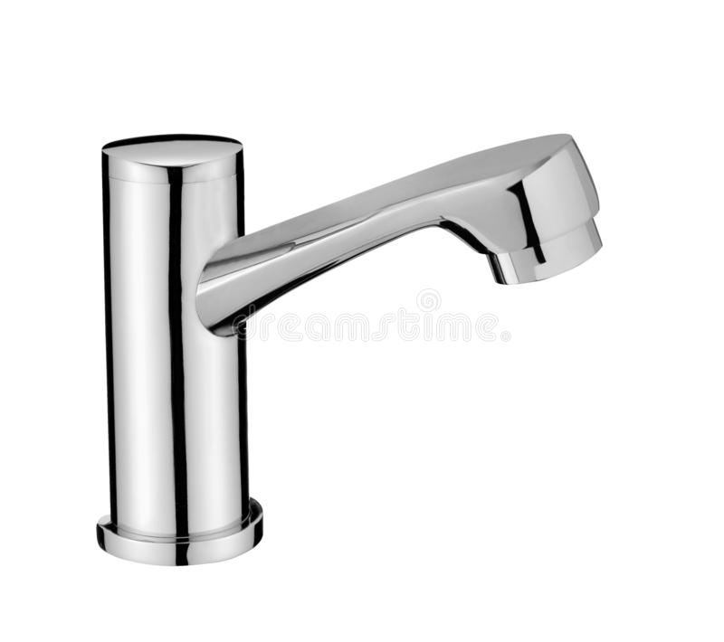Chrome Water Faucet Isolated on White royalty free stock photo