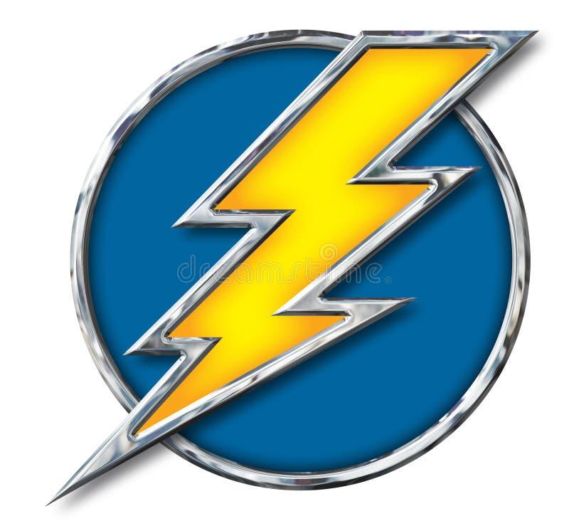 Chrome Yellow Lightning Bolt in Blue Circle on white. Chrome Lightning Bolt with metallic edge with yellow interior on a Blue Circle on a white background with stock illustration