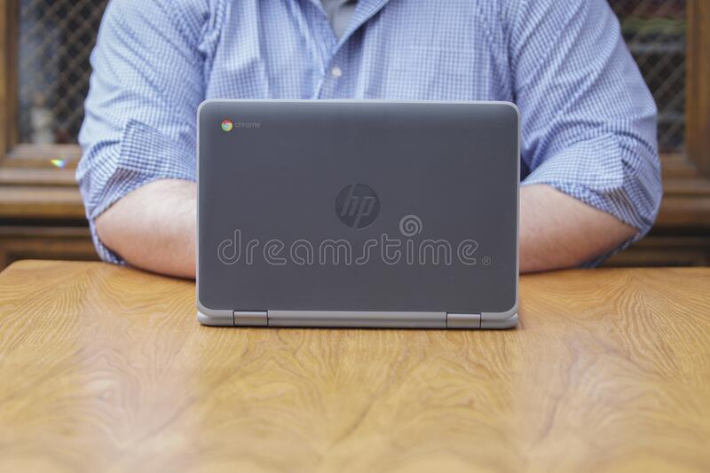 A Chromebook being used in for remote learning. stock photo