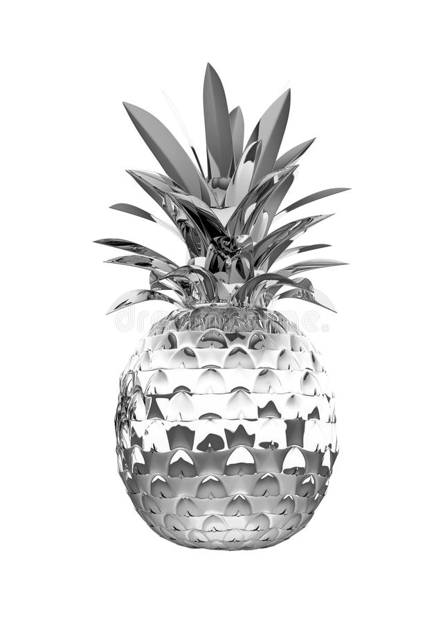 Chromed Ananas With Reflection Isolated Royalty Free Stock Photos
