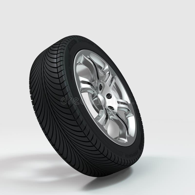 Chromed hjul med gummihjulet royaltyfri illustrationer