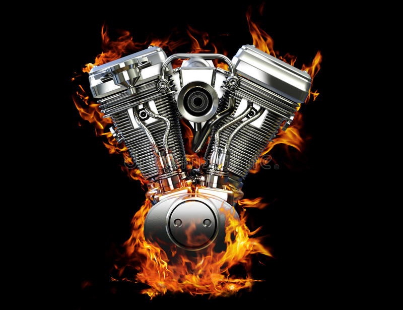 Chromed motorcycle engine on fire vector illustration