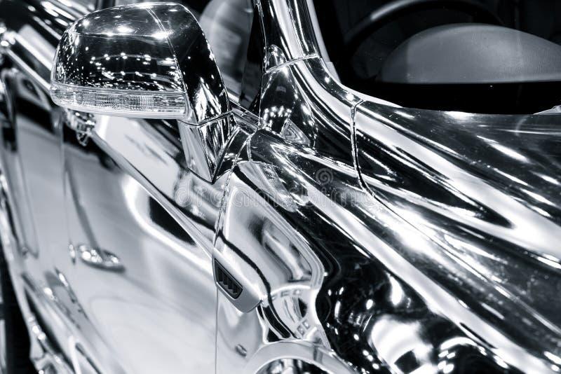 Chromium chrome reflection mirror surface. Car shine royalty free stock image