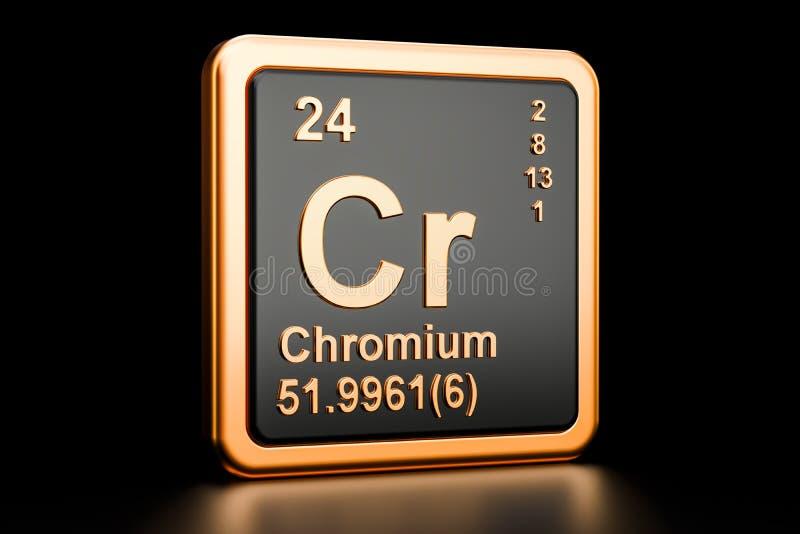 Chromium Cr chemiczny element świadczenia 3 d ilustracja wektor