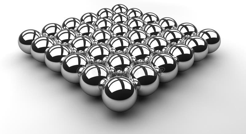 Chromkugelreihe stock abbildung