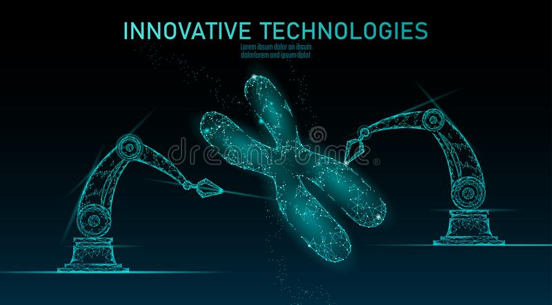Chromosome DNA structure medicine concept. Low poly polygonal triangle gene therapy cure genetic disease. GMO. Engineering CRISPR Cas9 innovation technology vector illustration