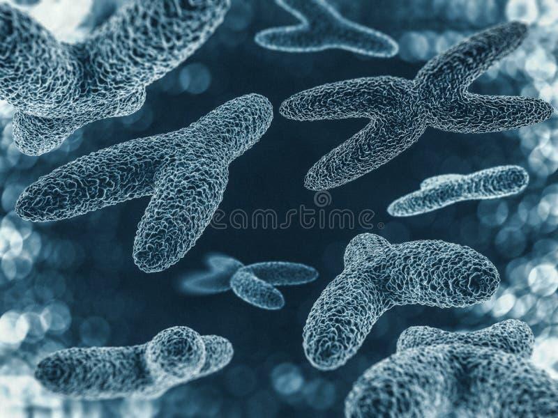 Chromosomes, gene mutation, genetic code. 3D stock illustration