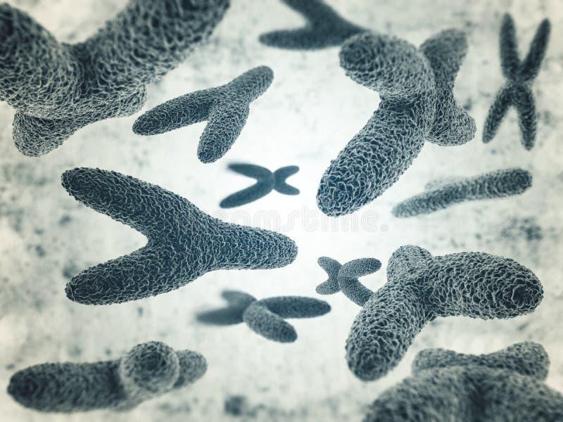 Chromosomes, gene mutation, genetic code. 3D royalty free illustration