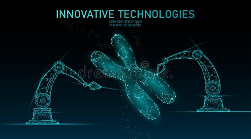 Chromosomu DNA struktury medycyny pojęcie Niskiego poli- poligonalnego trójboka genu terapii lekarstwa genetyczna choroba Gmo ilustracja wektor