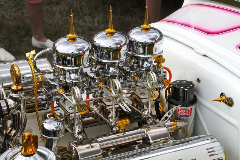 Chromowany Cadillac V8 obrazy royalty free