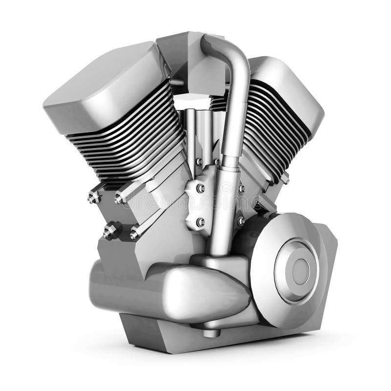 Chromowany motocyklu silnik ilustracji