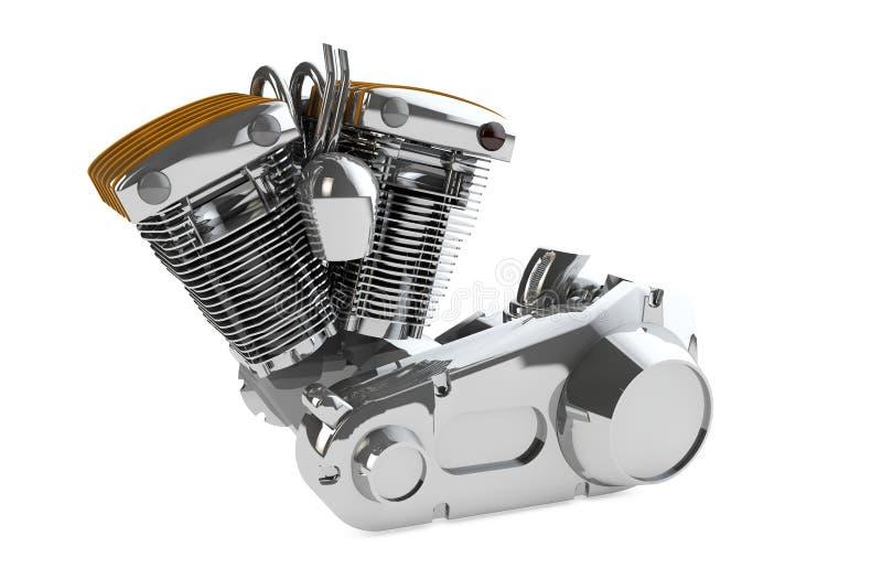 Chromowany motocyklu silnik na białym tle 3d odpłaca się ilustracji