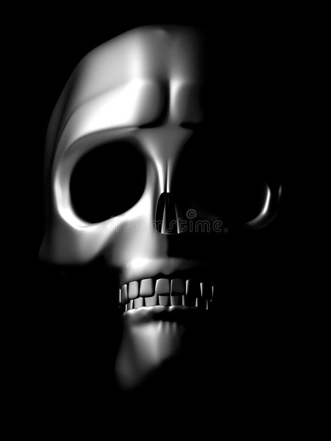 chromu frontowy czaszki widok royalty ilustracja