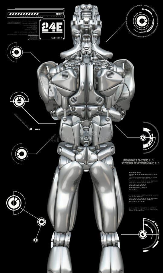 Chromu robot z głowami up grafika ilustracja wektor