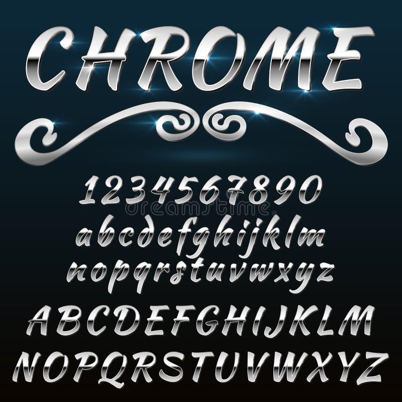 Chromuje typeface, mado metal lub stali błyszczącej retro, rocznika, royalty ilustracja