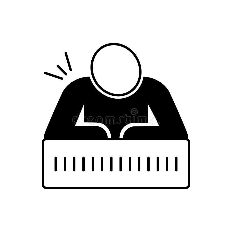 Black solid icon for Chronic pain, vertebrae and injury. Black solid icon for Chronic pain, muscle, medical, logo, pain,  vertebrae and injury royalty free illustration