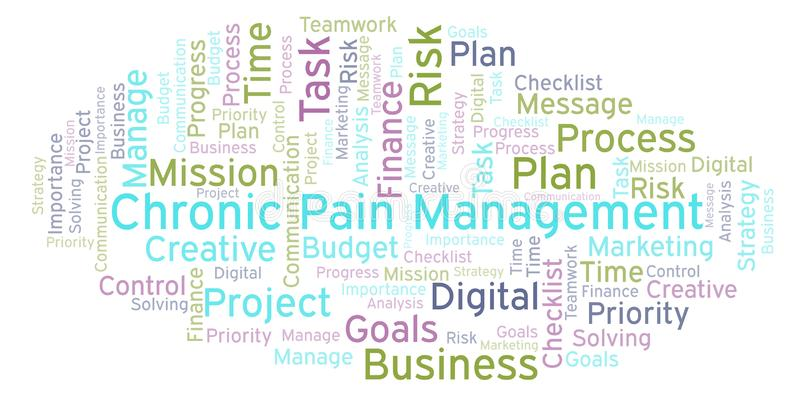 Chronic Pain Management word cloud, made with text only. vector illustration