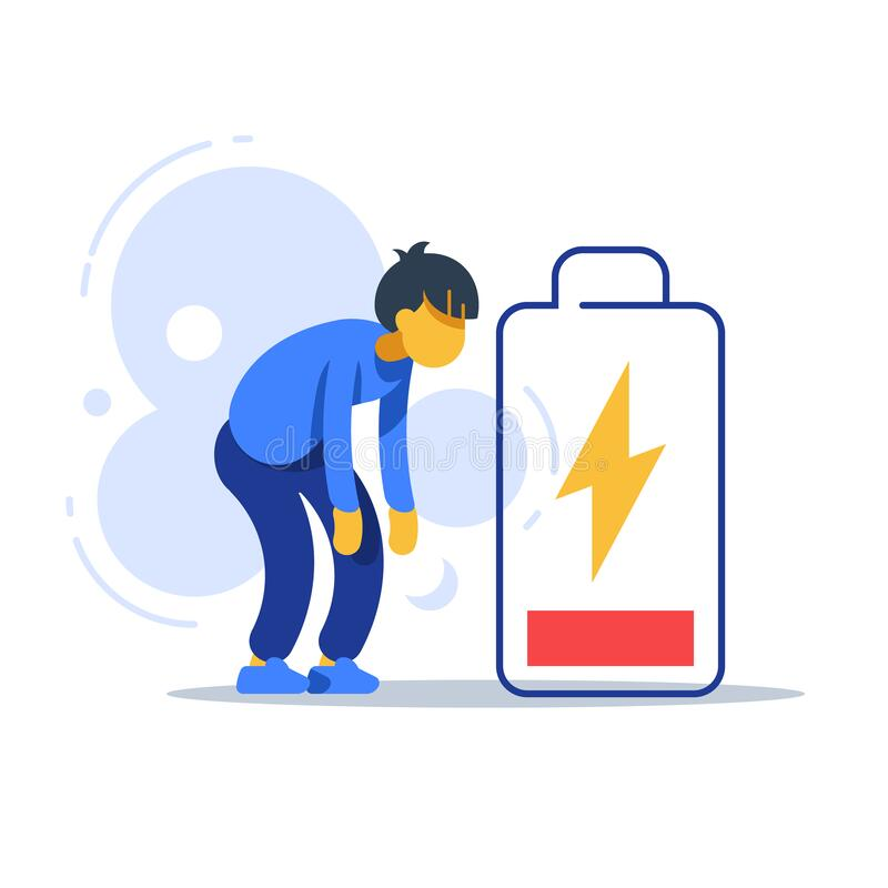 Chronic tired man, exhausted person, male character feeling weak, low energy state, physical or emotional burnout, mental fatigue. Bad health symptom vector illustration