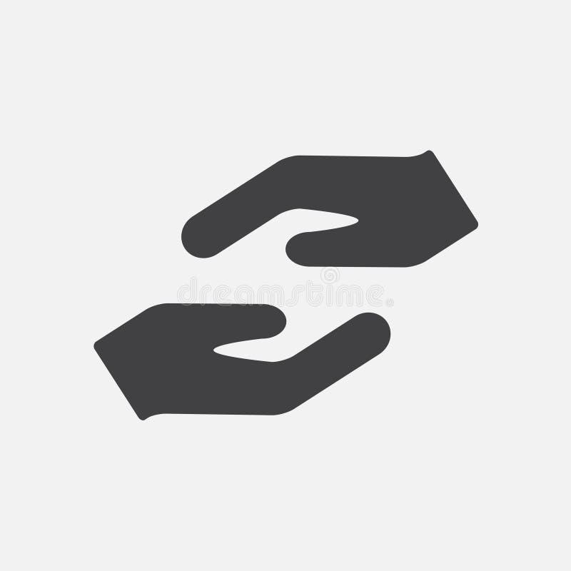 Chronienia lub czułości ręk ikona również zwrócić corel ilustracji wektora ilustracja wektor