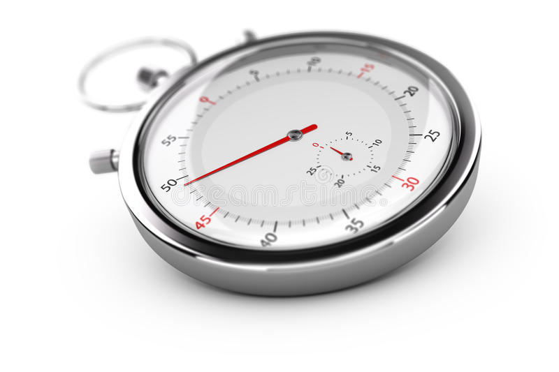 Chronograph, Stopwatch Over White royalty free illustration