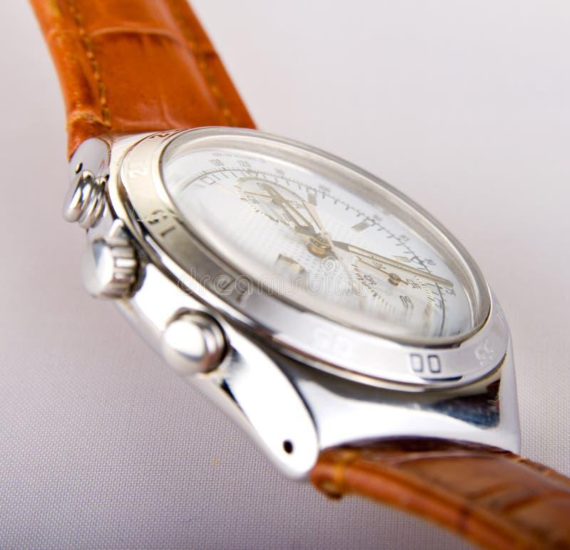 Chronographe avec la courroie en cuir images stock