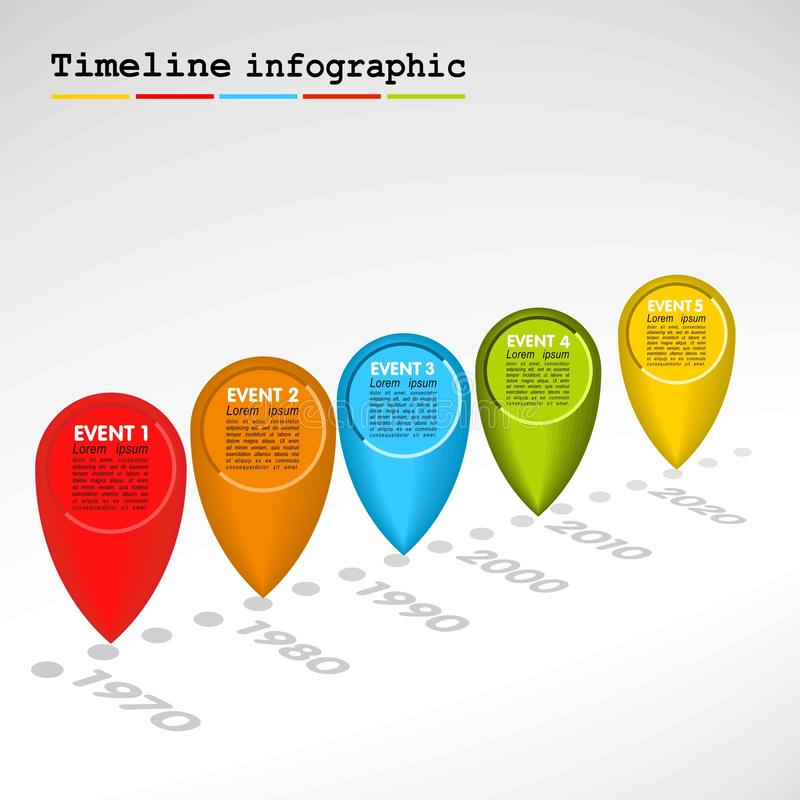 Chronologie d'Infographic avec les bulles colorées illustration libre de droits