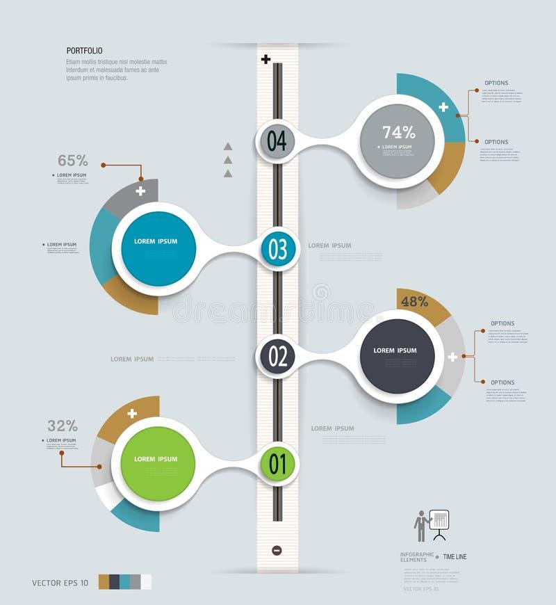 Chronologie d'Infographics Peut être employé pour la disposition de web design et de déroulement des opérations illustration de vecteur