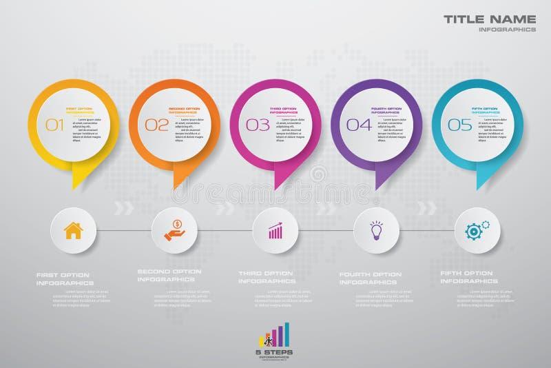chronologie de 5 étapes avec l'élément d'infographics de bulle de la parole pour la présentation illustration de vecteur