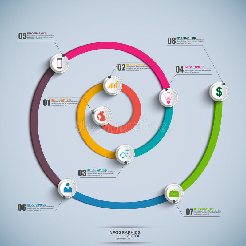 Chronologie en spirale Infographics illustration de vecteur