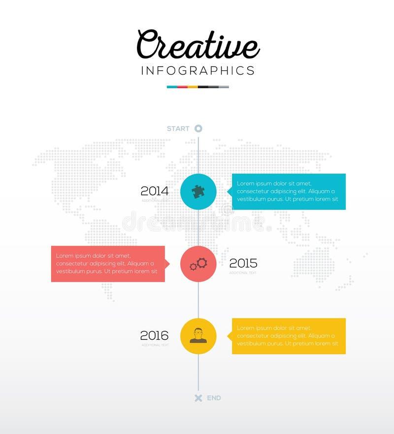 Chronologie infographic avec trois options dans des couleurs plates d'affaires illustration de vecteur