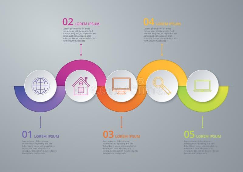 Chronologie infographic d'illustration de vecteur de cinq options illustration stock