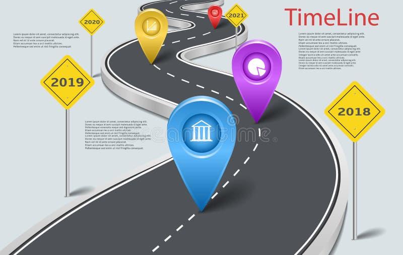Chronologie infographic de route de voiture de vecteur avec des indicateurs illustration stock