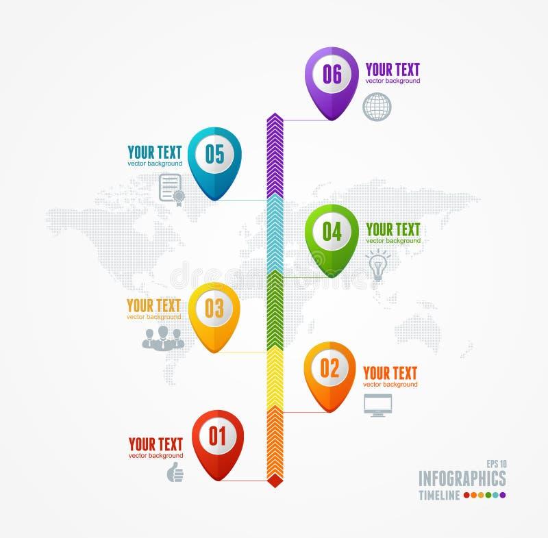 Chronologie Infographic de vecteur Carte et goupille illustration de vecteur