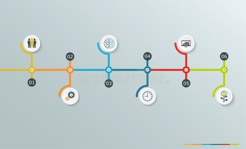Chronologie infographic grafiek met bedrijfspictogrammen, geleidelijke horizontale structuur vector illustratie