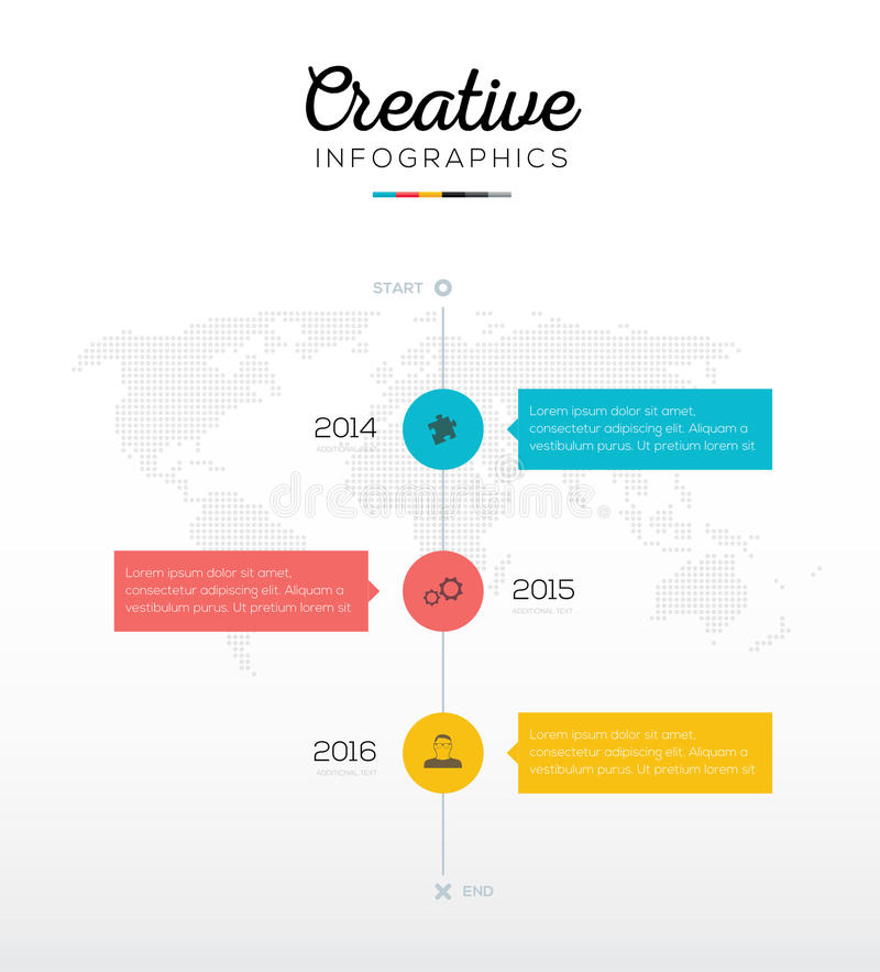 Chronologie infographic met drie opties in vlakke bedrijfskleuren vector illustratie