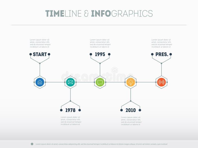 Chronologie infographic met pictogrammen en buttoms Vectortijdlijn of royalty-vrije illustratie