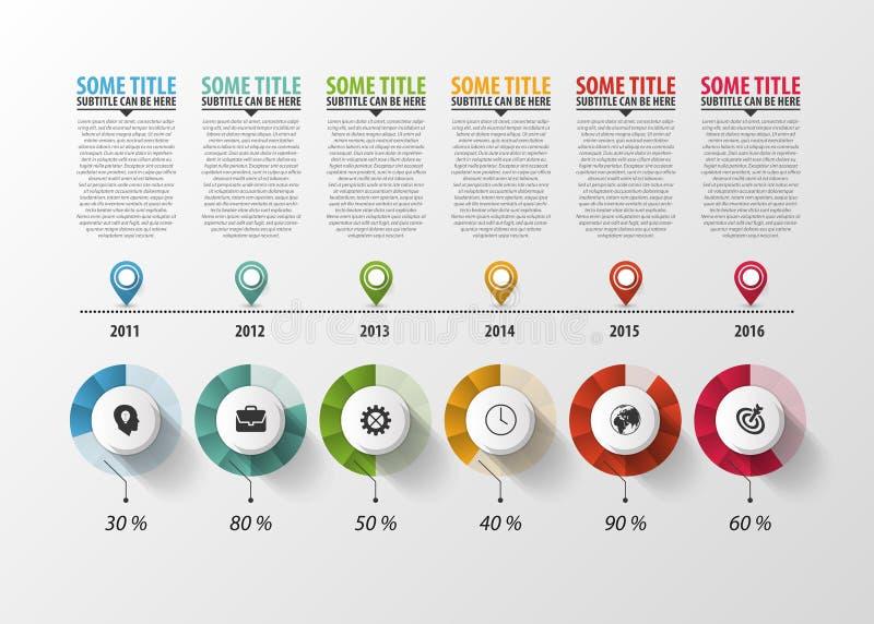 Chronologie Infographic met wijzers en tekst Vector stock illustratie