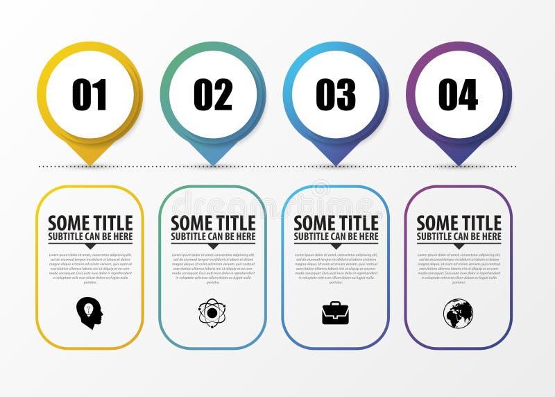 Chronologie Infographic met wijzers Modern vectorontwerpmalplaatje Vector stock illustratie