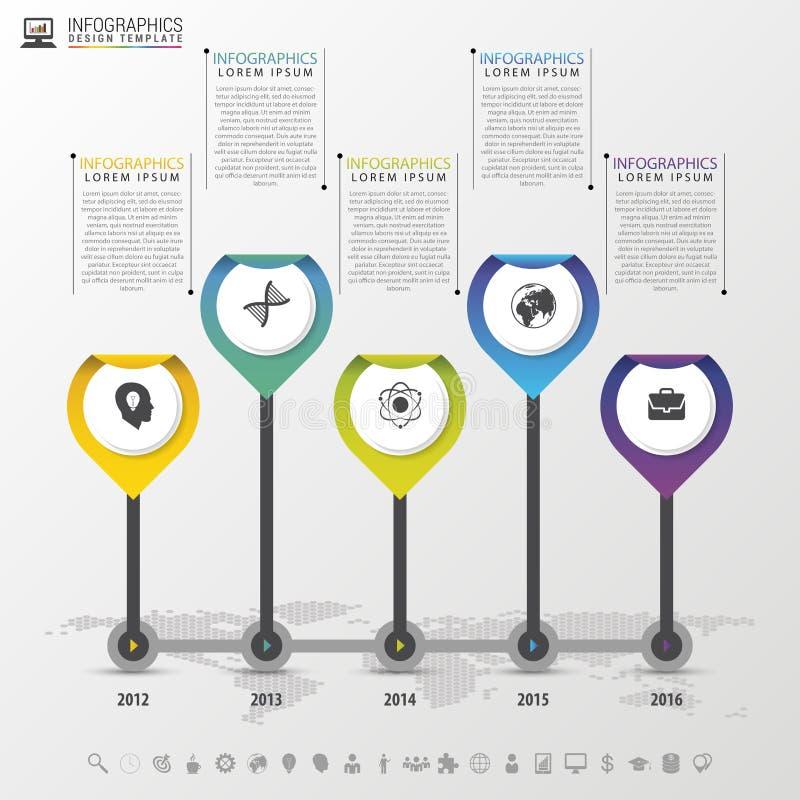 Chronologie Infographic met wijzers Modern vectorontwerpmalplaatje Vector illustratie royalty-vrije illustratie