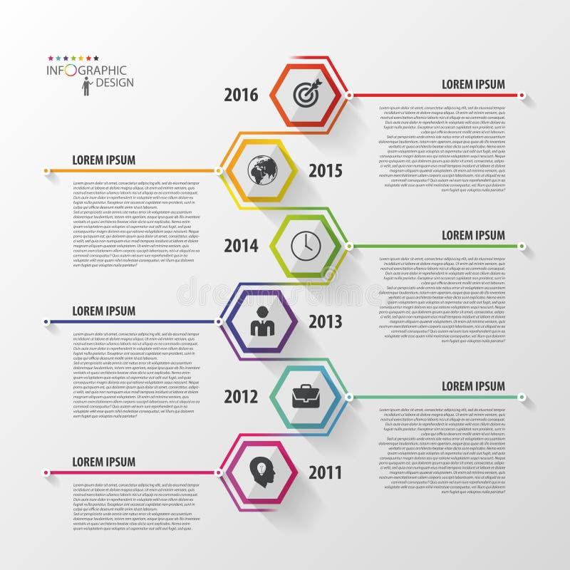 Chronologie Infographics Calibre hexagonal de conception Vecteur illustration de vecteur