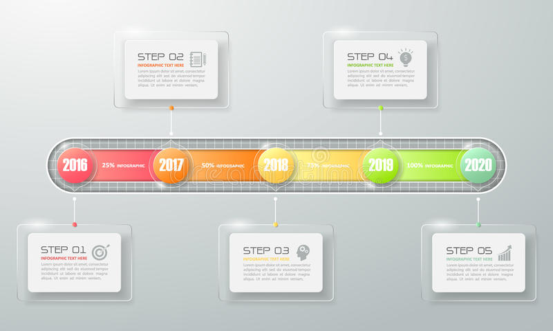 Chronologie moderne d'affaires peut être employé pour la disposition de déroulement des opérations, illustration libre de droits