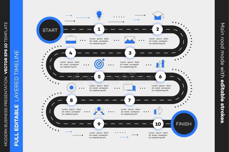 Chronologie posée d'Infographic Feuille de route de vecteur, calibre pour la présentation moderne d'affaires, rapports annuels, d photos stock