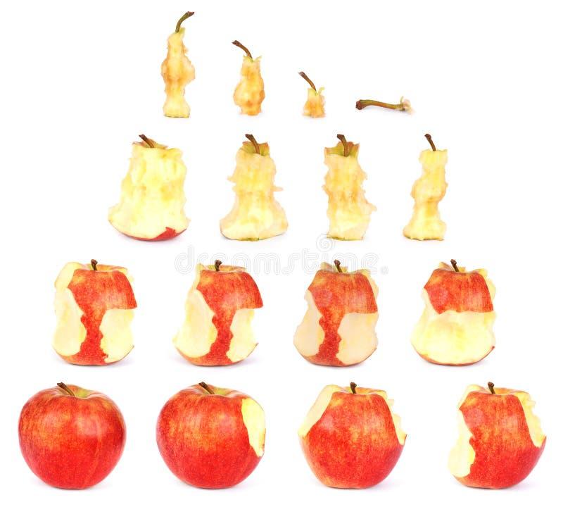 Chronologie van het eten van Apple (het Knippen weg) royalty-vrije stock fotografie