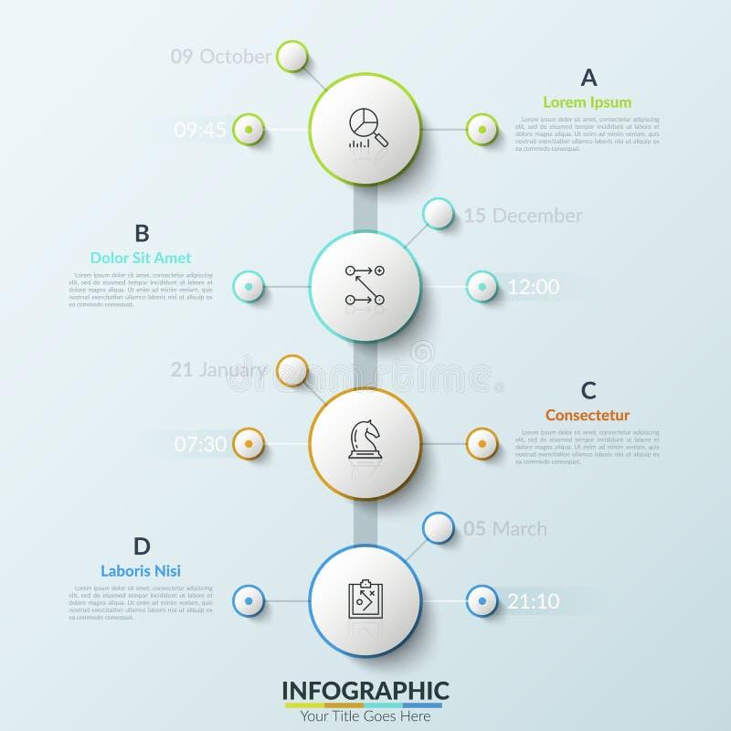Chronologie verticale avec 4 éléments ronds blancs, indication de date et d'heure, ligne mince icônes et zones de texte Concept d illustration stock