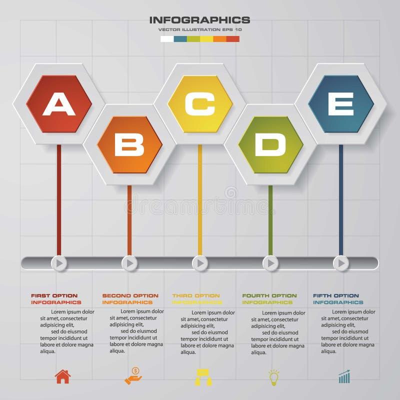 Chronologieinfographics, 5 stappenelementen en pictogrammen De bannersmalplaatje van het ontwerp schoon aantal vector illustratie