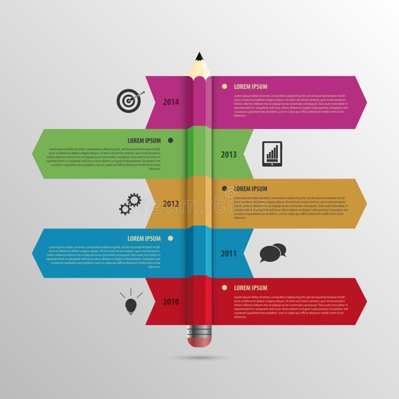 Chronologiemalplaatje de bedrijfs van Infographic met Potlood en pictogrammen royalty-vrije illustratie