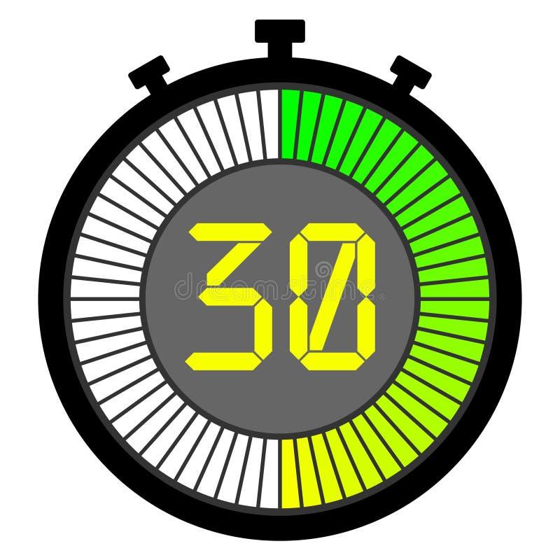chronomètre électronique avec un cadran de gradient commençant par le vert 30 secondes illustration libre de droits