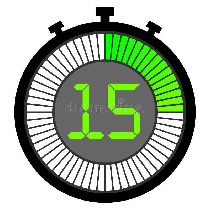 chronomètre électronique avec un cadran de gradient commençant par le vert 15 secondes illustration libre de droits