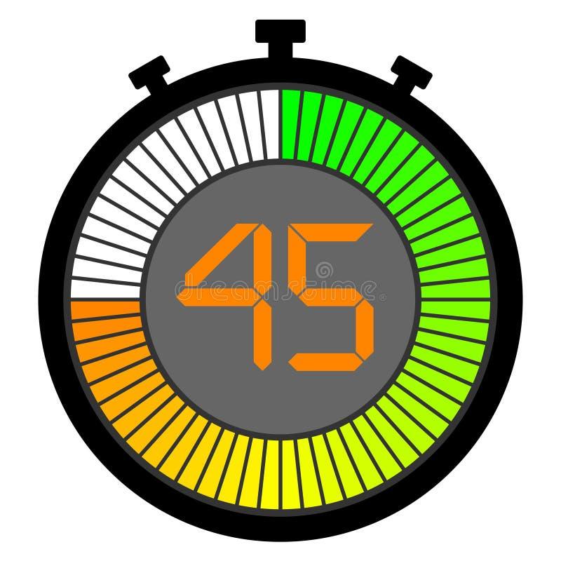 chronomètre électronique avec un cadran de gradient commençant par le vert 45 secondes illustration libre de droits